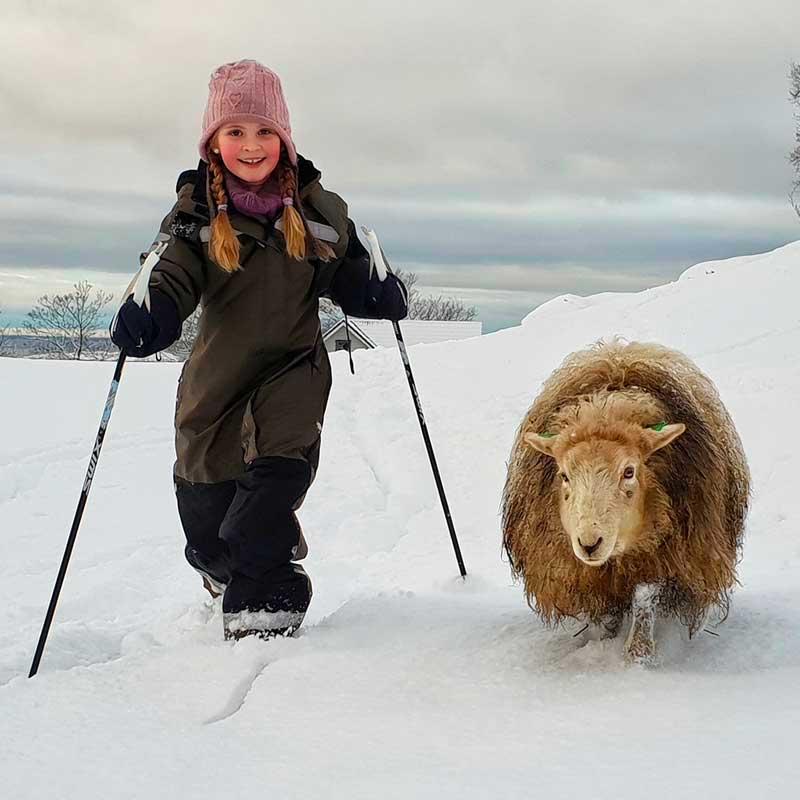 Randonnées dans la neige pour Nilia et Odlaug!