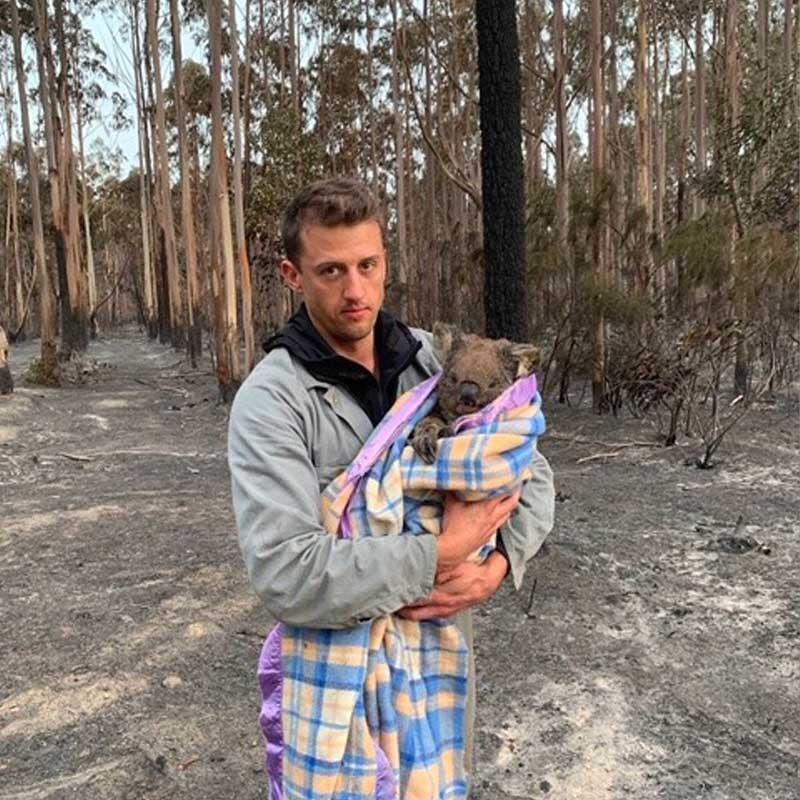 L'équipe de Vets for compassion récupère des animaux blessés dans la forêt brûlée.