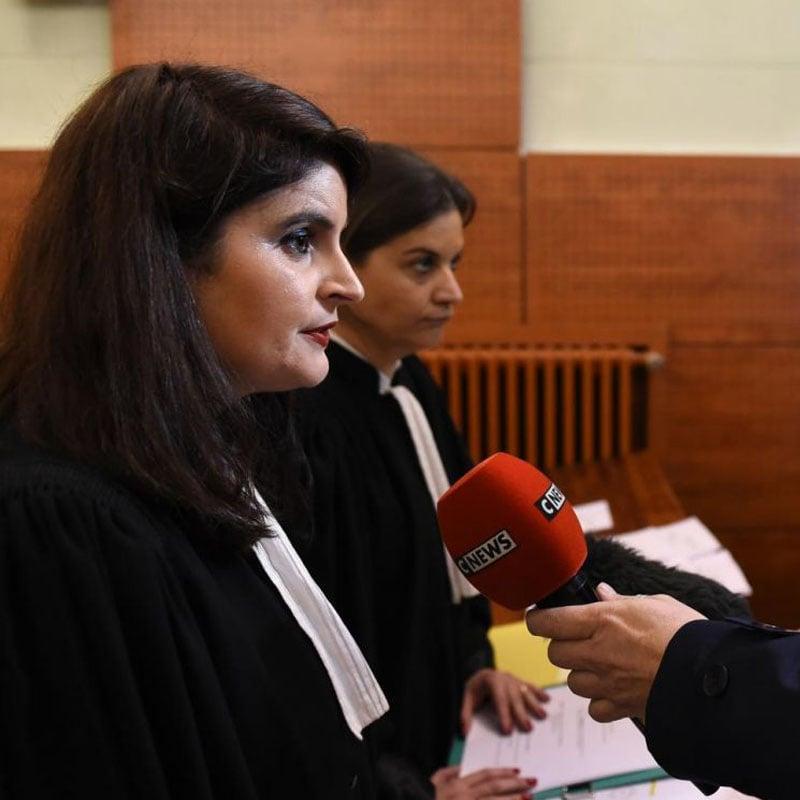 Hélène Thouy répond aux questions de CNews, à la sortie d'un procès.