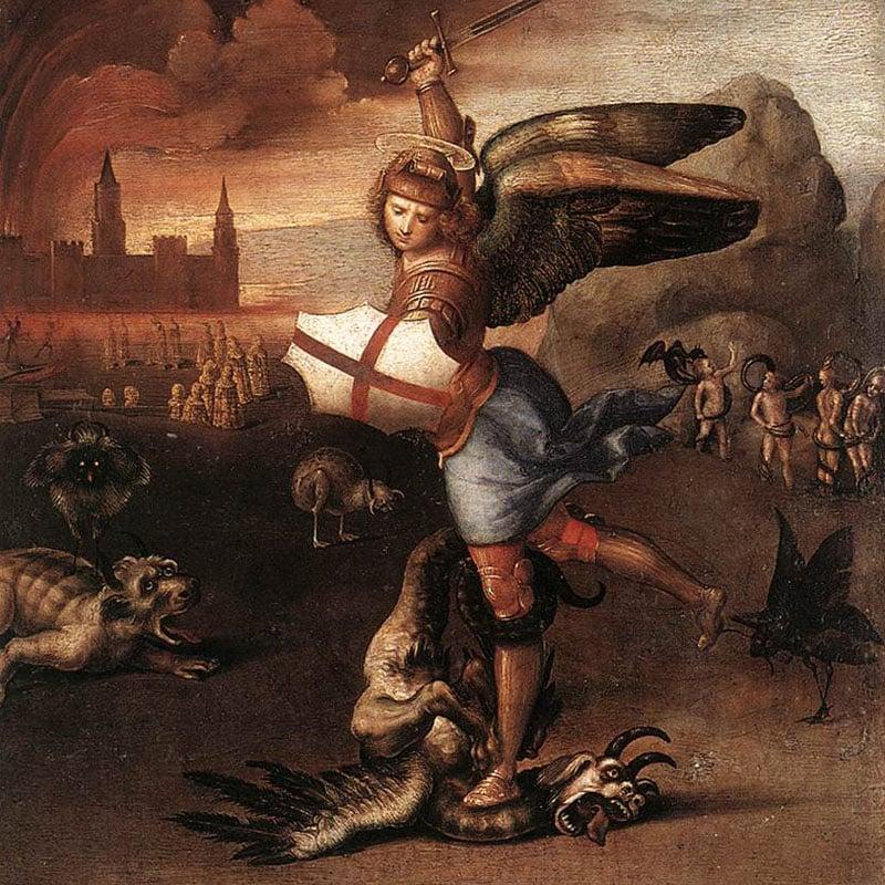 Saint Michel terrassant le dragon, par Raphael