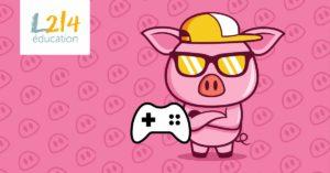 Photo cochon joue jeux video