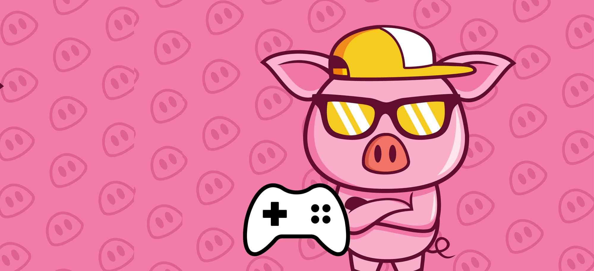 Bannière cochon joue aux jeux video